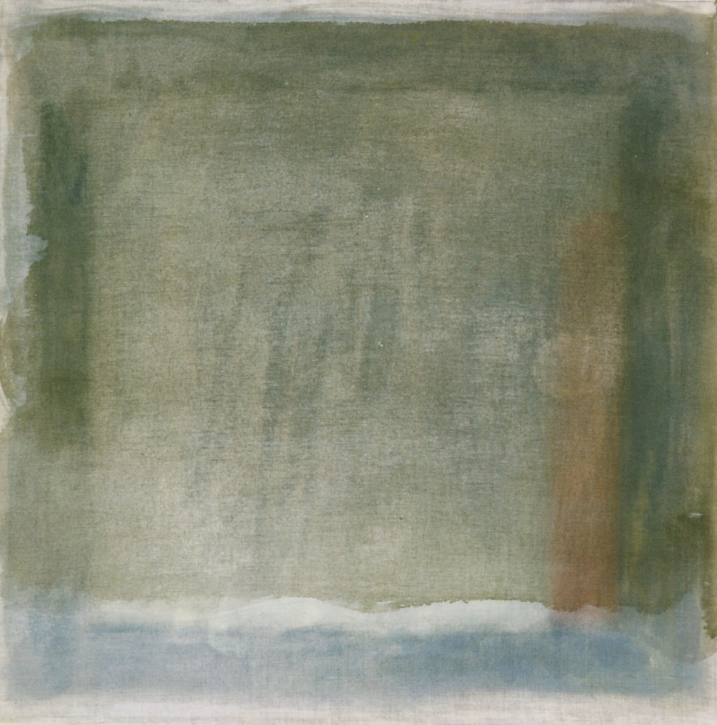 'schemering, herinnering' olieverf/transparant doek 45 x 45 cm 1997