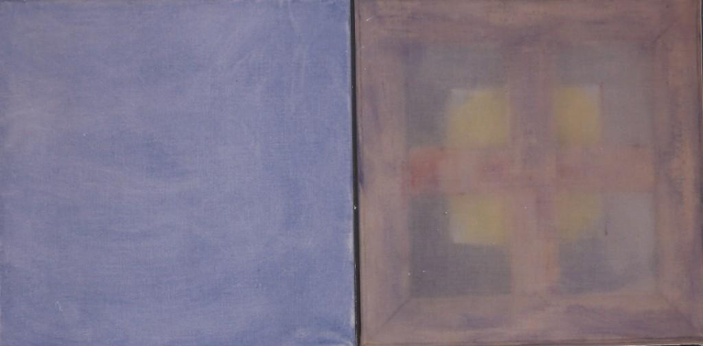 'in gedachten' olieverf/transparant doek 45 x 45 / 45 x 45 cm 1997