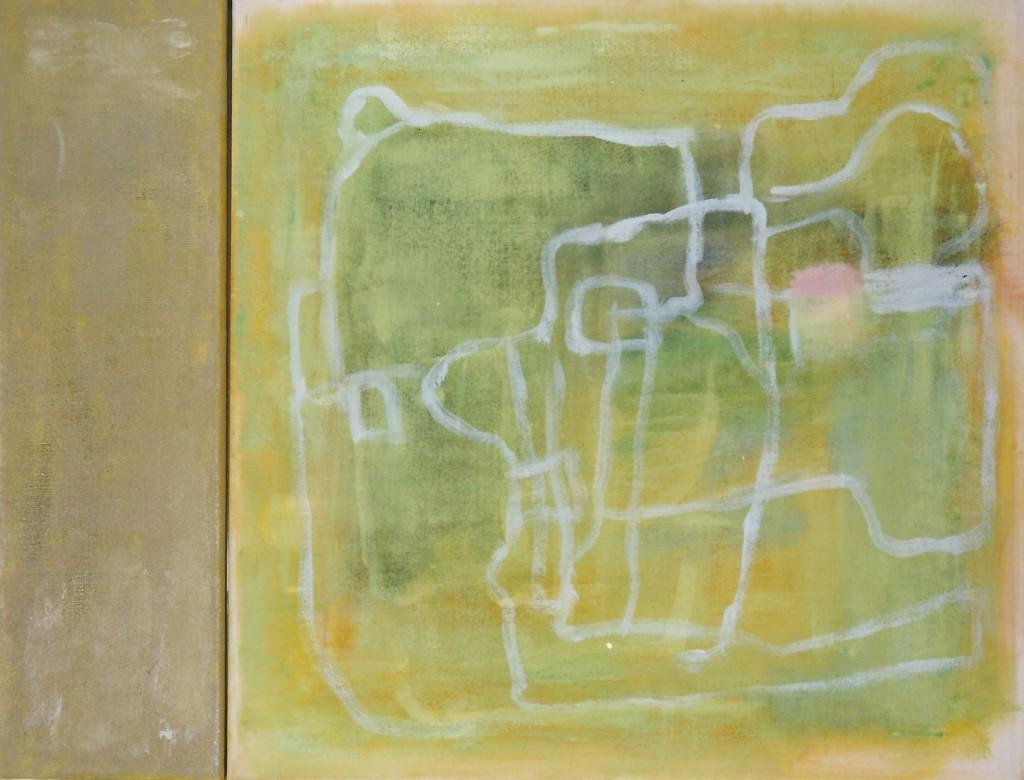 'longing home' olieverf/transparant doek 45 x 13 / 45 x 45 cm 1997