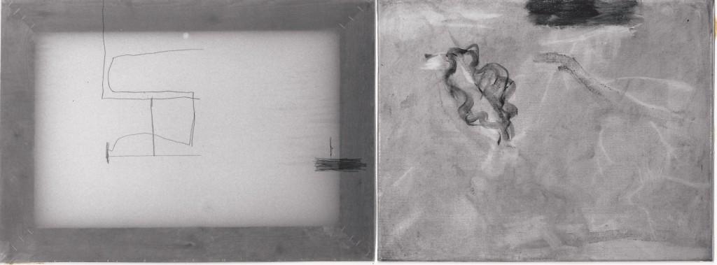 'transparant huis' tekening op calceerpapier / olieverf op doek 50 x 35 / 45 x 35 cm 1995